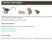 Habitats Game Worksheets