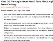 Anglo-Saxon : Interesting Facts